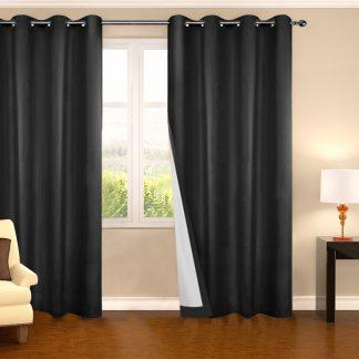 Art Queen 2 Panel 240 x 230cm Eyelet Blockout Curtains - Black