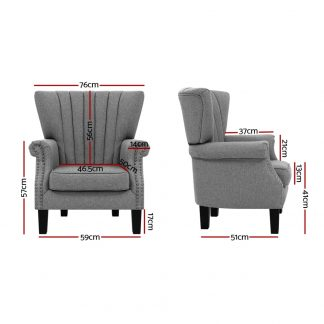 UPHO C EMPO GY 02 300x300 - Artiss Upholstered Fabric Armchair Accent Tub Chairs Modern seat Sofa Lounge Grey