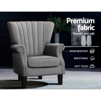 UPHO C EMPO GY 04 300x300 - Artiss Upholstered Fabric Armchair Accent Tub Chairs Modern seat Sofa Lounge Grey