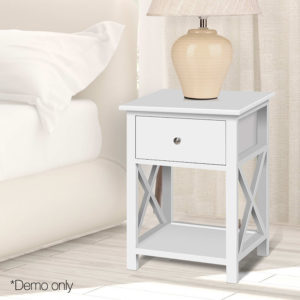 DRESS TAB BS 1D 08 300x300 - Bedside Table Coffee Side Cabinet Drawer Wooden White
