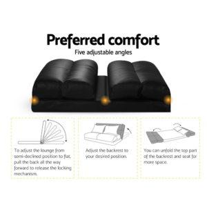 FLOOR SBL 200PU S BK 02 1 300x300 - Artiss Lounge Sofa DOUBLE Floor Recliner Chaise Chair Folding PU leather Black