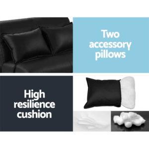 FLOOR SBL 200PU S BK 06 1 300x300 - Artiss Lounge Sofa DOUBLE Floor Recliner Chaise Chair Folding PU leather Black