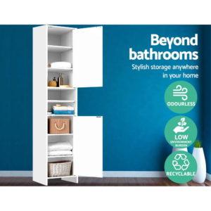 FURNI E BATH 185 WH 02 300x300 - Artiss 185cm Bathroom Tallboy Toilet Storage Cabinet Laundry Cupboard Adjustable Shelf White