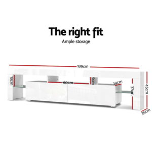 FURNI L TV189 WH AB 01 300x300 - Artiss 189cm RGB LED TV Stand Cabinet Entertainment Unit Gloss Furniture Drawers Tempered Glass Shelf White