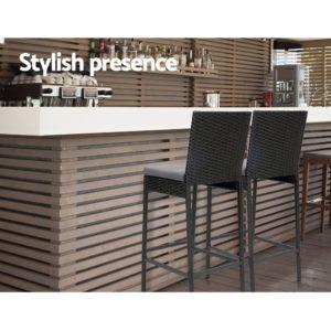 ODF BAR CHAIR BK 2X 06 300x300 - Gardeon Outdoor Bar Stools Dining Chairs Rattan Furniture X2