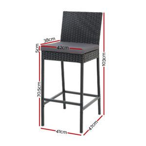 ODF BAR CHAIR BK 2X 01 300x300 - Gardeon Outdoor Bar Stools Dining Chairs Rattan Furniture X2