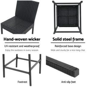 ODF BAR CHAIR BK 2X 04 300x300 - Gardeon Outdoor Bar Stools Dining Chairs Rattan Furniture X2
