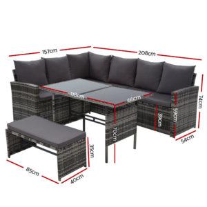ODF SDLUX 1BENCH GE 01 300x300 - Gardeon Outdoor Furniture Sofa Set Dining Setting Wicker 8 Seater Mixed Grey
