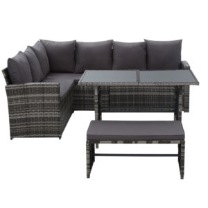 ODF SDLUX 1BENCH GE 02 300x300 - Gardeon Outdoor Furniture Sofa Set Dining Setting Wicker 8 Seater Mixed Grey
