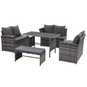 ODF SDLUX 1BENCH GE 04 300x300 - Gardeon Outdoor Furniture Sofa Set Dining Setting Wicker 8 Seater Mixed Grey