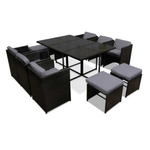 ff dining 11set bk 00 1 300x300 - Gardeon 11 Piece PE Wicker Outdoor Dining Set - Black