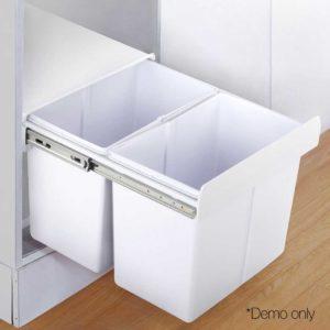 POT BIN 20L SET WH 11 300x300 - Set of 2 20L Twin Pull Out Bins - White