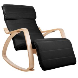 ARMCHAIR 10 BLACK 00 300x300 - Artiss Fabric Rocking Armchair with Adjustable Footrest - Black