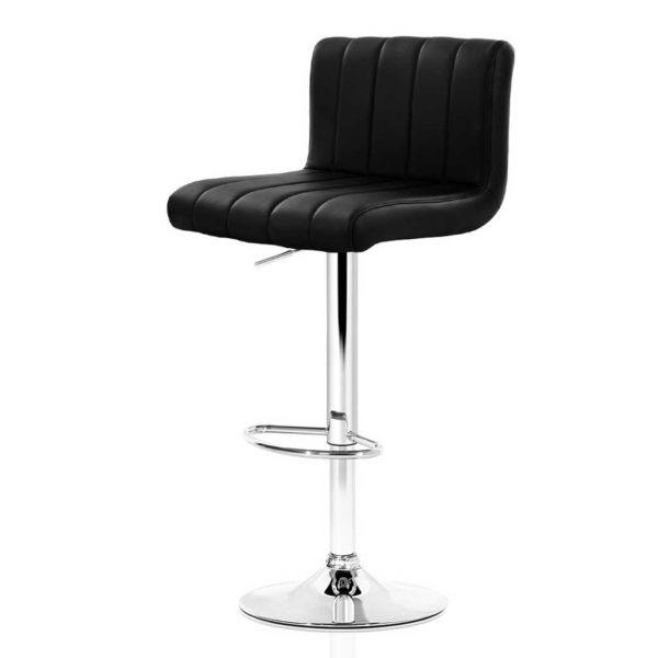 BA K 1185 BKX2 00 600x600 - Artiss 2x Leather Bar Stools Kitchen Chair Bar Stool Black Lana Gas Lift Swivel