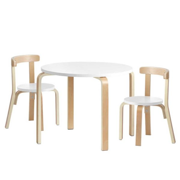 BENT B KID TAB01 NT WH 00 600x600 - Artiss Kids Table and Chair Set Study Desk Dining Wooden