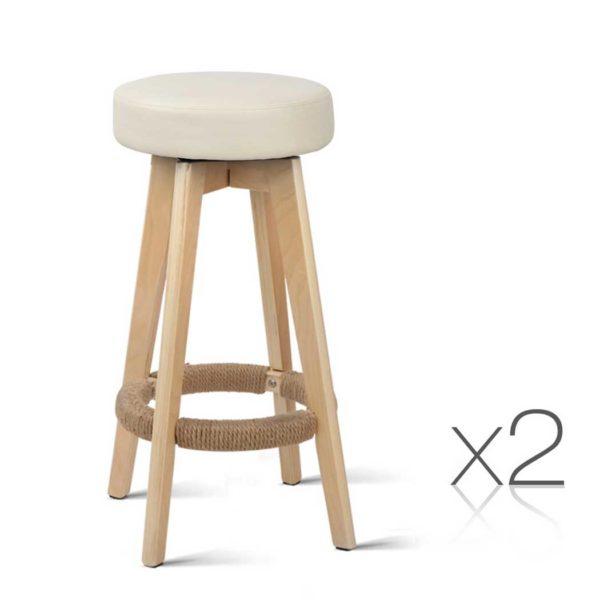 BENT C 078A CRX2 00 600x600 - Artiss 2x Kitchen Bar Stools Wooden Bar Stool Swivel Barstools Counter Chairs 74cm Leather Cream