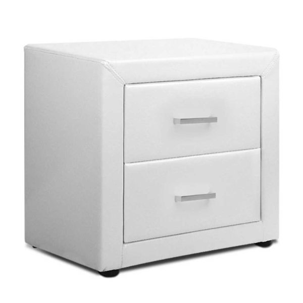 BFRAME E BSIDE WH 00 600x600 - Artiss PVC Leather Bedside Table - White