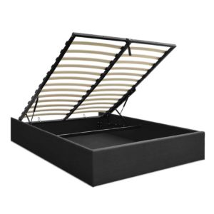 BFRAME E TOKI Q CHAR AB 00 300x300 - Artiss TOKI Queen Size Storage Gas Lift Bed Frame without Headboard Fabric Charcoal