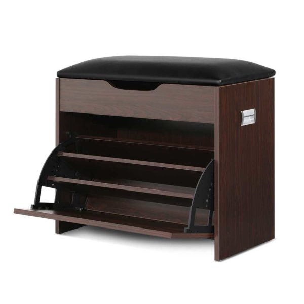 CABINET 8836 WAL 00 600x600 - Artiss 12 Pairs Shoe Cabinet Organiser Wooden Storage Bench Stool