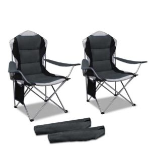 CAMP C 61 GR FC2 00 300x300 - Set of 2 Portable Folding Camping Armchair - Grey