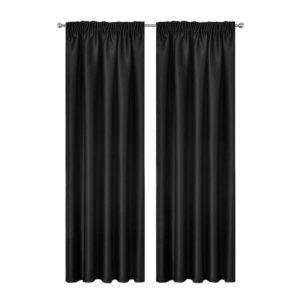 CURTAIN 01H D230X140 BK 00 300x300 - Artqueen 2X Pinch Pleat Pleated Blockout Curtains Black 140cmx230cm