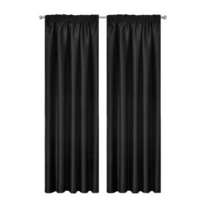 CURTAIN 01H D230X300 BK 00 300x300 - Artqueen 2X Pinch Pleat Pleated Blockout Curtains Black 300cmx230cm