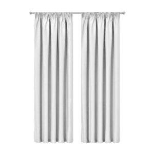 CURTAIN 01H D230X300 WH 00 300x300 - Artqueen 2X Pinch Pleat Pleated Blockout Curtains White 300cmx230cm