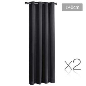CURTAIN 140 BK X2 00 300x300 - Set of 2 ArtQueen 3 Pass Eyelet Blockout Curtain Black 140cm