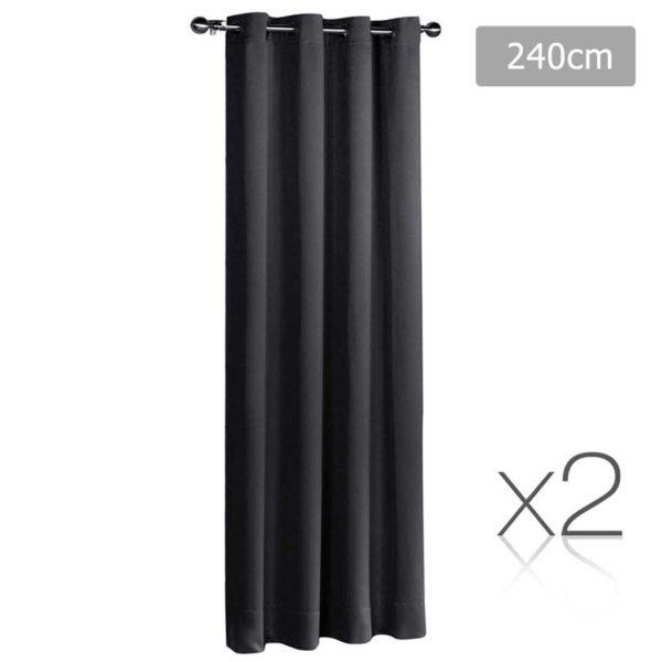 CURTAIN 240 BK X2 00 600x600 - Art Queen 2 Panel 240 x 230cm Block Out Curtains - Black
