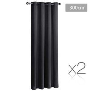 CURTAIN 300 BK X2 00 300x300 - Art Queen 2 Panel 300 x 230cm Eyelet Block Out Curtains - Black