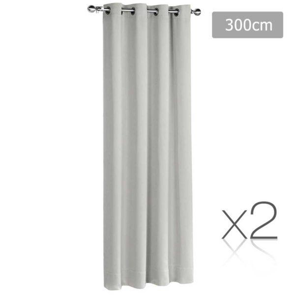CURTAIN 300 ECRU X2 00 600x600 - Art Queen 2 Panel 300 x 230cm Eyelet Block Out Curtains -  Ecru