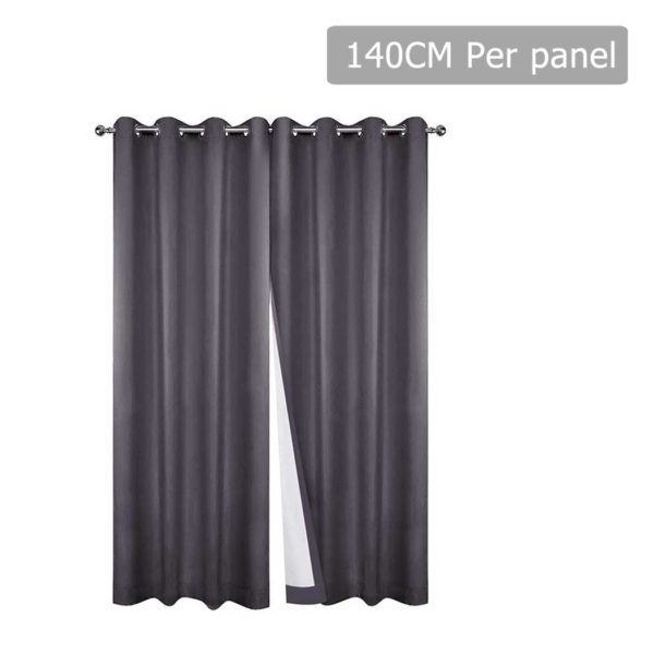 CURTAIN CT GY 140 00 600x600 - Art Queen 2 Panel 140 x 230cm Eyelet Blockout Curtains - Grey