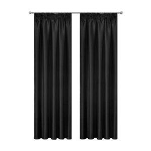 CURTAIN HOOK D213X240 BK 00 300x300 - Art Queen 2 Pencil Pleat 240x213cm Blockout Curtains - Black