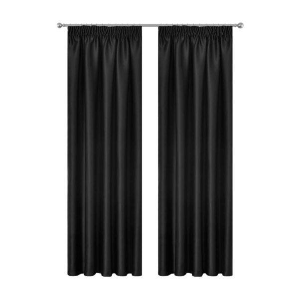CURTAIN HOOK D213X240 BK 00 600x600 - Art Queen 2 Pencil Pleat 240x213cm Blockout Curtains - Black