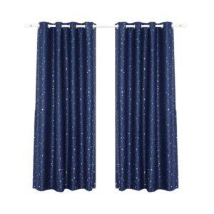 curtain star d213x180 na 00 300x300 - Art Queen 2 Star Blockout 180x213cm Blackout Curtains - Navy