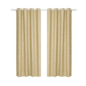 curtain star d230x240 lt 00 300x300 - Art Queen 2 Star Blockout 240x230cm Blackout Curtains - Latte