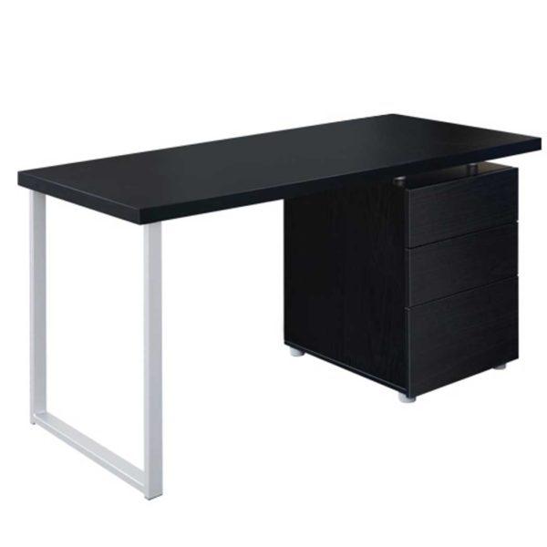 DESK 140M BK AB 00 5 600x600 - Artiss Metal Desk with 3 Drawers - Black