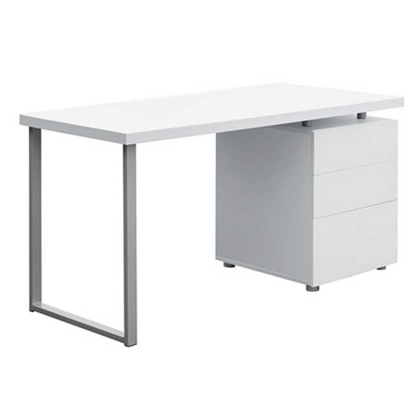 DESK 140M WH AB 00 5 600x600 - Artiss Metal Desk with 3 Drawers - White