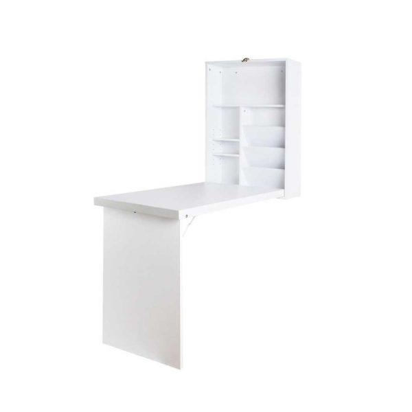 DESK WALL WH 00 600x600 - Artiss Foldable Desk with Bookshelf - White