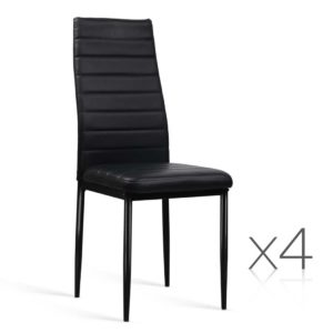 Peachy Artiss Set Of 4 Dining Chairs Pvc Leather Black Alphanode Cool Chair Designs And Ideas Alphanodeonline