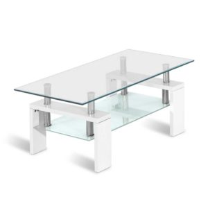 DINING B T11 WH 00 300x300 - Artiss 2 Tier Coffee Table Tempered Glass Stainless Steel White