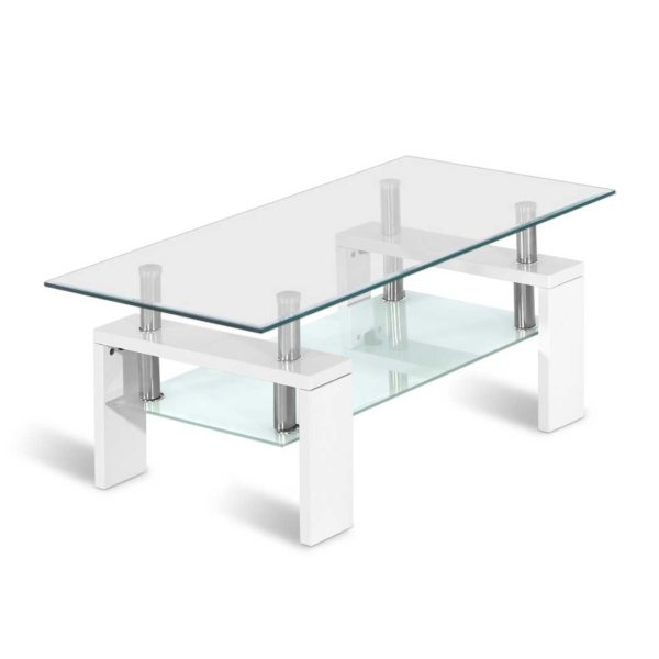 DINING B T11 WH 00 600x600 - Artiss 2 Tier Coffee Table Tempered Glass Stainless Steel White