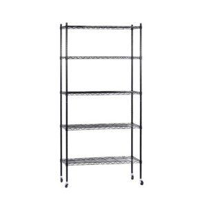 DIY WS90 5T BK 00 300x300 - 90cm 5-Tier Wire Shelf Shelving Unit Kithchen Storage Trolley Black