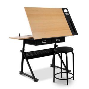 draw desk st19 oa 00 300x300 - Artiss Tilt Drafting Table Stool Set - Natural & Black