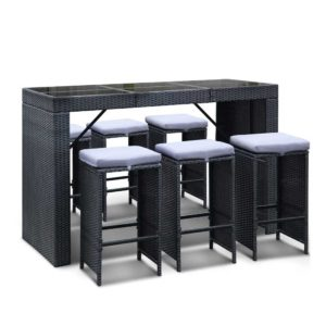 ff barset bk 7abc 00 1 300x300 - Gardeon 7 Piece Outdoor Dining Table Set - Black
