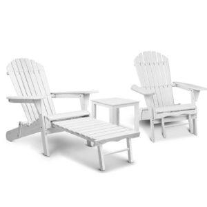 FF BEACH CHOT 3WH 00 300x300 - Gardeon 3 Piece Outdoor Adirondack Lounge Beach Chair Set - White