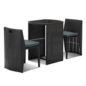 FF CT17029 BISTRO BK 00 300x300 - Gardeon 3 Piece PE Wicker Outdoor Table and Chair Set - Black