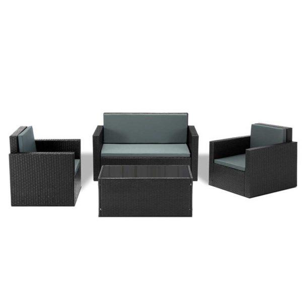FF SF17026 4PCS BK AB 00 600x600 - Gardeon 4 Piece Outdoor Wicker Furniture Set - Black
