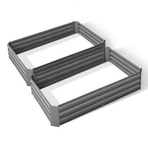 GARDEN ALUMGR 12 FC2 00 300x300 - Green Fingers Set of 2 120 x 90cm Raised Garden Bed - Aluminium Grey