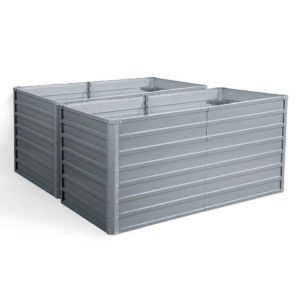 GARDEN ALUMGR 16 FC2 00 300x300 - Greenfingers Galvanised Steel Raised Garden Bed Instant Planter 160 x 80 x 77cm Aluminium X2